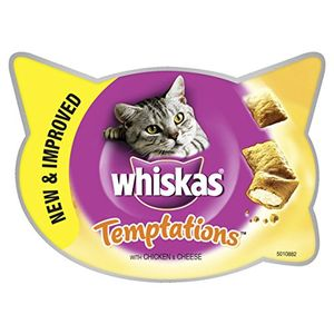 WHISKAS Temptations Cat Treats with Chicken and Cheese 60 G Pack of 8