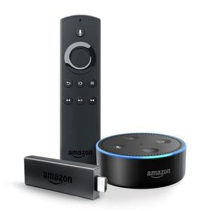 Amazon Fire TV Stick with Alexa Voice Remote + Echo Dot (Black)