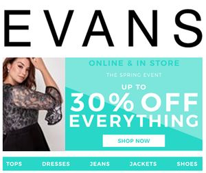 Calling All Curvy Girls…. Size 14 to 32? Get up to 30% off at Evans Now