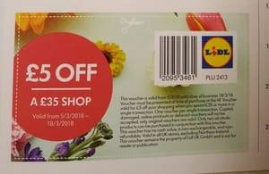 Lidl - £5 off £35