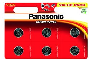 Panasonic CR2032 Lithium 3 Volt Battery Card of 6 at Amazon