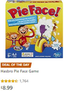 Pie Face Game by Hasbro. Only £9.99 at Amazon.