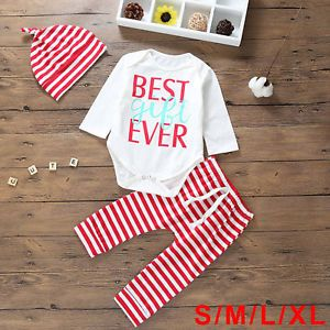 UK Stock 3PCS Set Baby Top Romper+Pants Hat Outfit Only for 99p