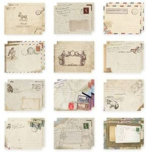 Set of 12 Vintage Mini Airmail Envelope for Greeting Cards