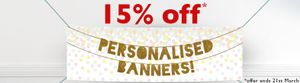 15% off Personalised Banners with Party Pieces