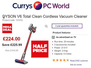 HALF PRICE MEGA DEAL DYSON V6 Total Clean Cordless Vacuum Cleaner - Nickel & Red