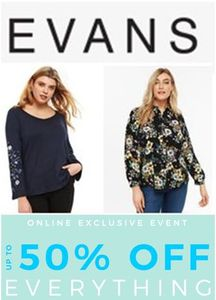 PLUS SIZE? Evans Sale. up to 50% off EVERYTHING! Sizes 14 to 32