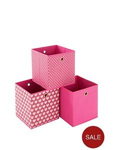 Set of 3 Pink Storage Cube Boxes - Store Flat + Free Postage