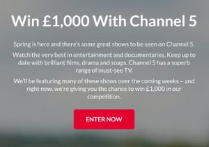 Win £1,000 with Channel 5
