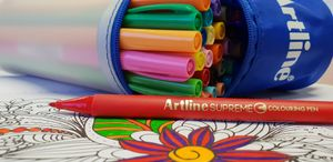 Win 30 Artline Supreme Colouring Pens + Pencil Case