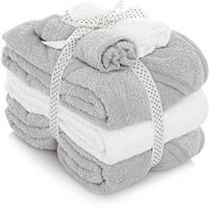 5 Piece Grey Hooded Towels and Face Cloth Set • 3 Hooded Towels • 2 Face Cloths