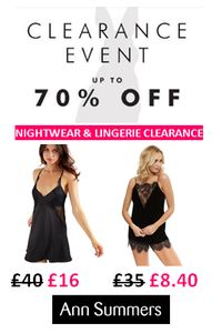 Nightwear CLEARANCE at Ann Summers. HALF PRICE plus EXTRA 20% off at CHECKOUT