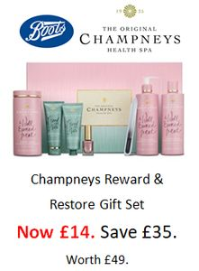 SAVE £35! BOOTS CLEARANCE - Champneys Reward & Restore Gift Set - £14. worth £49