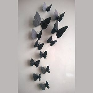 12 Piece 3D Butterfly Wall stickers(BLACK)