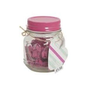 Mini Glass Jar with Mini Pink Pegs