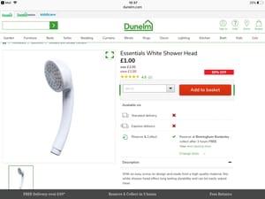 Essentials White Shower Head