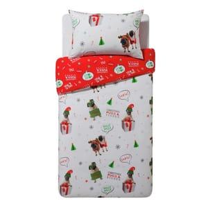 HOME Merry Pugmas Bedding Set - Single