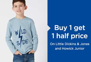 Buy 1 Get 1 Half Price on Kids Clothing at House of Fraser