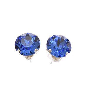 Silver Stud Earrings with Sapphire Blue Crystal from SWAROVSKI®