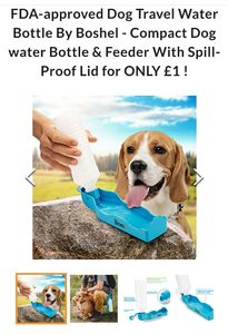 Dog Travel Water Bottle & Feeder with Spill-Proof Lid for ONLY £1 !