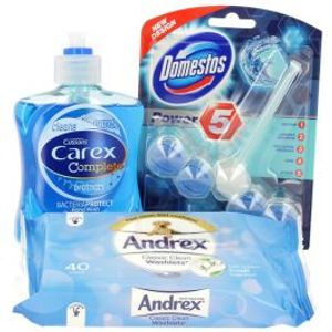 3 for £1 : Andrex Washlets + Carex Handwash + Domestos Power Rim Block