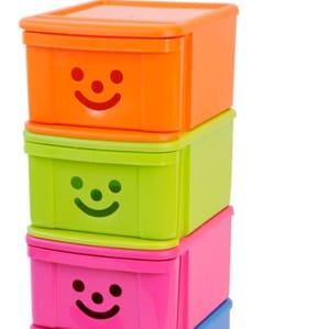 Children's Plastic Stackable Drawer- Smiley Orange 12L