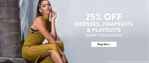 25% off Dresses, Playsuits & Jumpsuits at Boohoo