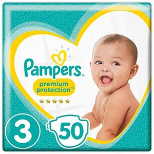 Pampers Premium Protection Size 3, 50 Nappies, (5-9 Kg), Pack of 2