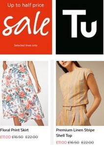 Sainsbury's TU CLOTHING SALE - HALF PRICE DEALS