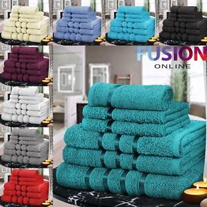 6 Piece Bathroom Bale Towel Set Soft Satin Bath 100% Egyptian Cotton Towels