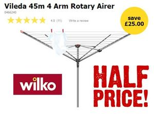 HALF PRICE at WILKO! Vileda 45m 4 Arm Rotary Airer **4.8 STARS**