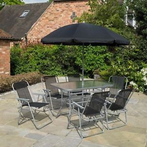 Black 8 Piece Garden Furniture Outdoor Patio Dining Set / Parasol / 6 Seater