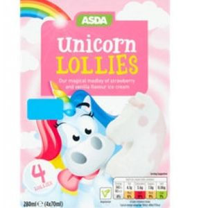 Get Unicorn Ice Cream Lollies (Pack of 4) Only £1.00 @Asda