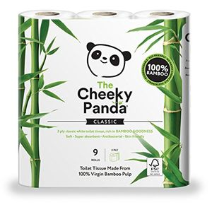 Cheeky Panda Ultra Sustainable Hypoallergenic 100% Bamboo Toilet Roll Pack of 9