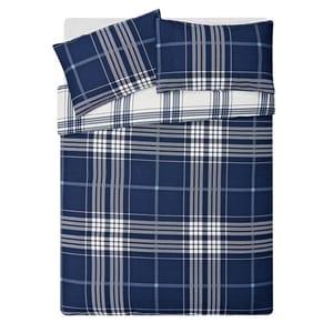 HOME Blue Check Bedding Set - Double