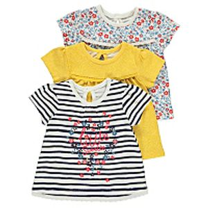 Kids Assorted Print Tops 3 Pack 0 > 3mths 3 > 6mths Free C&C