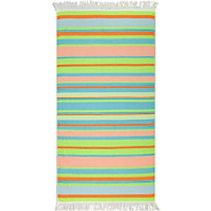 Neon Striped Beach Towel with Fringed Trim