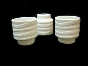 Joblot of 36 Porcelain White Wave Patterned Candle Holders