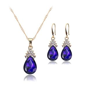 Droplet Jewellery Set of Crystal Pendant Necklace+Earrings(blue) - Delivered