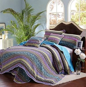 3 Pc King Size Striped Jacquard Style BedSpread