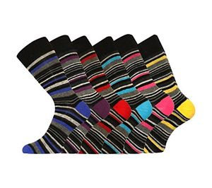 6 Pk Mens Pierre Calvini Luxury Stripe Cotton Rich Sock 6-11 UK FREE DELIVERY