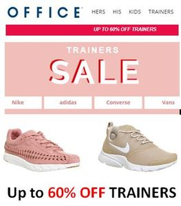 Trainers SALE. up to 60% off Nike, Converse, Adidas & Vans Trainers at OFFICE