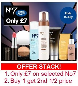 BOOTS No 7 Offer Stack! until MONDAY 16th JULY (e.g. Was £33, Now £10.50)