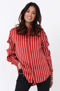 Stripe Satin Tie Sleeve Blouse