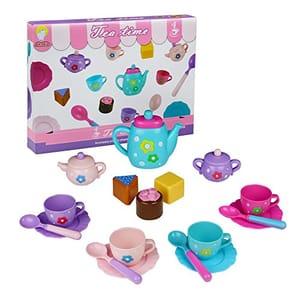 Tea Set, Cake Toy, Teapot Set, Role Play Food Game 18 Pcs Birthday Gifts