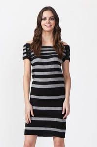 Rib Knit Stripe Bardot Dress
