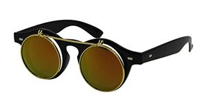 Steampunk round Sunglasses Emo Retro Vintage Flip up Cyber A1 FREE DELIVERY
