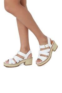 Faux Crocodile Chunky Heel Sandal