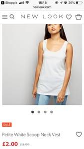 £2 White Vest Top