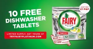 10 Free Fairy Platinum Dishwasher Tablets p&p £1